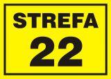 22 Strefa zagrożenia wybuchem - znak ostrzegający, informujący - NB008 - Znaki antystatyczne, kopalnie