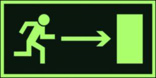AA002 - Kierunek do wyjścia drogi ewakuacyjnej w prawo - znak ewakuacyjny