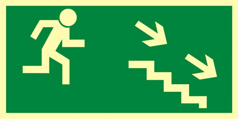 AA004 - Kierunek do wyjścia drogi ewakuacyjnej schodami w dół w prawo - znak ewakuacyjny