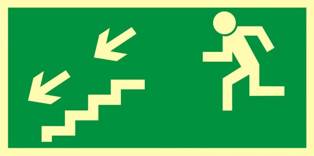 AA005 - Kierunek do wyjścia drogi ewakuacyjnej schodami w dół w lewo - znak ewakuacyjny
