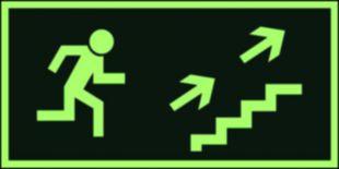 AA007 - Kierunek do wyjścia drogi ewakuacyjnej schodami w górę w prawo - znak ewakuacyjny