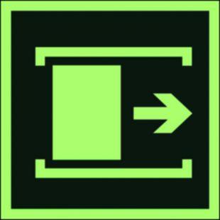 AA016 - Przesunąć w celu otwarcia - znak ewakuacyjny