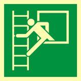 AAE016 - Okno ewakuacyjne z drabiną ewakuacyjną - znak ewakuacyjny - Stocznia – bezpieczeństwo i higiena pracy