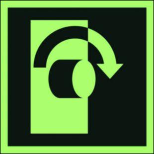 AAE019 - Przekręcić aby otworzyć - znak ewakuacyjny