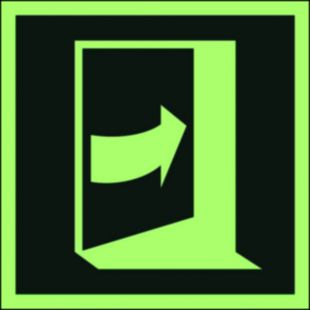 AAE023 - Pchać aby otworzyć drzwi (prawe) - znak ewakuacyjny
