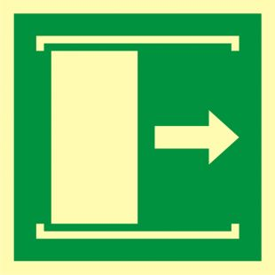 AAE033 - Drzwi przesuwane w celu otwarcia - znak ewakuacyjny