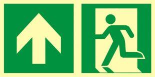 AAE100 - Kierunek do wyjścia ewakuacyjnego - w górę (lewostronny) - znak ewakuacyjny