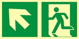 AAE101 - Kierunek do wyjścia ewakuacyjnego – w górę w lewo - znak ewakuacyjny