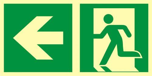 AAE102 - Kierunek do wyjścia ewakuacyjnego – w lewo - znak ewakuacyjny - Jak stosować znaki bezpieczeństwa?