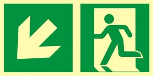 AAE103 - Kierunek do wyjścia ewakuacyjnego – w dół w lewo - znak ewakuacyjny