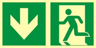 AAE104 - Kierunek do wyjścia ewakuacyjnego – w dół (lewostronny) - znak ewakuacyjny
