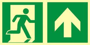 AAE105 - Kierunek do wyjścia ewakuacyjnego – w górę (prawostronny) - znak ewakuacyjny