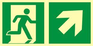 AAE106 - Kierunek do wyjścia ewakuacyjnego – w górę w prawo