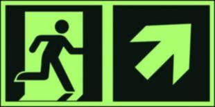 AAE106 - Kierunek do wyjścia ewakuacyjnego – w górę w prawo - znak ewakuacyjny