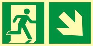 AAE108 - Kierunek do wyjścia ewakuacyjnego - w dół w prawo - znak ewakuacyjny