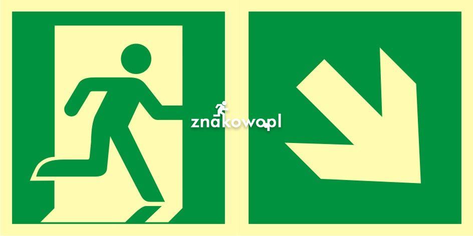 AAE108 - Kierunek do wyjścia ewakuacyjnego - w dół w prawo - znak ewakuacyjny - Znaki bezpieczeństwa – wymagania konstrukcyjne i normy