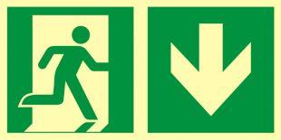 AAE109 - Kierunek do wyjścia ewakuacyjnego – w dół (prawostronny) - znak ewakuacyjny
