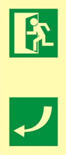 AC214 - Kierunek otwarcia drzwi - znak ewakuacyjny
