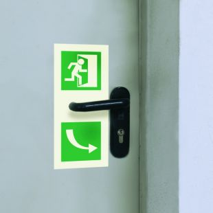 AC215 - Kierunek otwarcia drzwi - znak ewakuacyjny