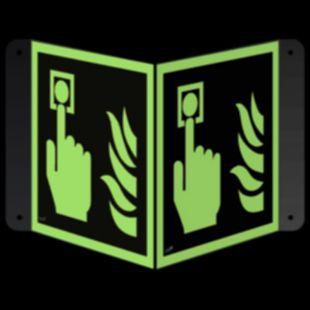 Alarm pożarowy - znak ewakuacyjny, przestrzenny, ścienny 3D