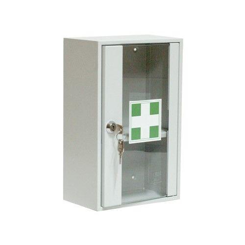Apteczka metalowa ścienna zakładowa 20x32x12 cm 1 półka - z szybką, szkło hartowane - Apteczka w zakładzie pracy
