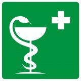 Apteczka pierwszej pomocy - znak bhp informujący - GH002 - Znaki BHP w miejscu pracy (norma PN-93/N-01256/03)