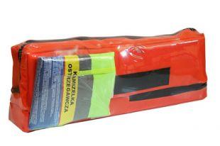 Apteczka samochodowa DIN 13164 45x14x5 + trójkąt ostrzegawczy + kamizelka odblaskowa