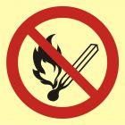 BA002 - Zakaz używania otwartego ognia - palenie tytoniu zabronione - znak przeciwpożarowy ppoż