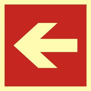 BA011 - Kierunek do miejsca rozmieszczenia sprzętu pożarniczego lub urządzenia ostrzegającego - znak przeciwpożarowy ppoż