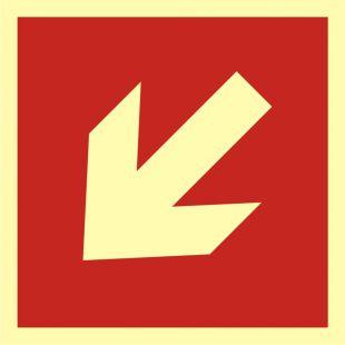 BA012 - Kierunek do miejsca rozmieszczenia sprzętu pożarniczego lub urządzenia ostrzegającego - znak przeciwpożarowy ppoż