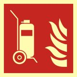 BAF009 - Gaśnica kołowa - znak przeciwpożarowy ppoż - Znaki ochrony przeciwpożarowej PN-EN ISO 7010