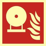 BAF013 - Zamocowana butla gaśnicza - znak przeciwpożarowy ppoż - Znaki bezpieczeństwa – wymagania konstrukcyjne i normy