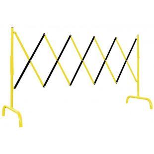Bariera zapora drogowa harmonijkowa rozsuwana zabezpieczająca metalowa czarno-żółta