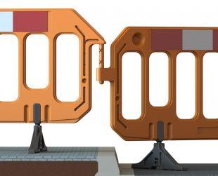 Barierka tymczasowa, zabezpieczająca U-20 PCV z nóżkami - czerwona / pomarańczowa