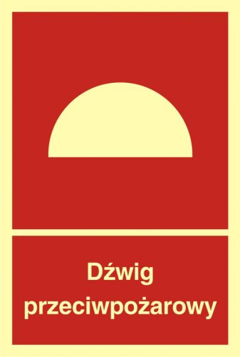 BB009 - Dźwig przeciwpożarowy - znak przeciwpożarowy ppoż - Windy pożarowe