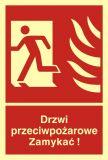 BB011 - Drzwi przeciwpożarowe. Zamykać! Kierunek drogi ewakuacyjnej w lewo - znak przeciwpożarowy ppoż - Dopuszczenie do użytkowania – znaki bezpieczeństwa