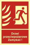 BB014 - Drzwi przeciwpożarowe. Zamykać! Kierunek drogi ewakuacyjnej w prawo - znak przeciwpożarowy ppoż - Oddymianie klatek schodowych