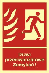 BB014 - Drzwi przeciwpożarowe. Zamykać! Kierunek drogi ewakuacyjnej w prawo - znak przeciwpożarowy ppoż