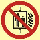 BB023 - Nie używać dźwigu w przypadku pożaru - znak przeciwpożarowy ppoż