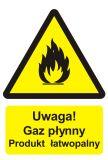 BC002 - Uwaga! Gaz płynny - produkt łatwopalny - znak przeciwpożarowy ppoż - Obrót wyrobami pirotechnicznymi – obowiązki pracodawcy