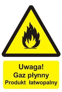BC002 - Uwaga! Gaz płynny - produkt łatwopalny - znak przeciwpożarowy ppoż
