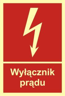 BC007 - Wyłącznik prądu - znak przeciwpożarowy ppoż