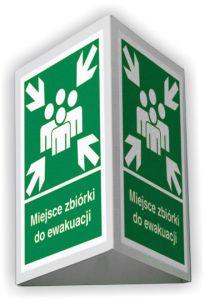 BD002 - Miejsce zbiórki do ewakuacji 3D - duży 35 x 51,8 cm - znak ewakuacyjny, przestrzenny 3D