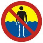 Bezwzględny zakaz kąpieli - woda silnie skażona - znak, kąpieliska - OH017