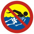 Bezwzględny zakaz kąpieli - woda silnie skażona - znak, kąpieliska - OH019