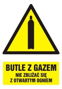 Butle z gazem - nie zbliżać się z otwartym ogniem - znak bhp ostrzegający, informujący - GF031