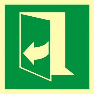 Ciągnąć aby otworzyć drzwi (lewe) - znak ewakuacyjny - AAE058