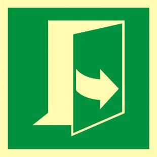 Ciągnąć aby otworzyć drzwi (prawe) - znak ewakuacyjny - AAE057