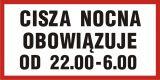 Cisza nocna obowiązuje od 22.00 do 6.00 - znak informacyjny - PB108 - Budynki mieszkalne – oznakowanie