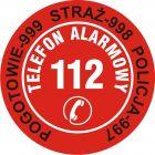 DA004 - Nalepka na telefon - pogotowie 999, straż 998, policja 997, telefon alarmowy 112